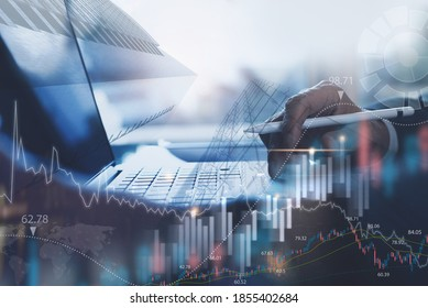 Business finance investment background, businessman or finance analyst working in office, monitoring with trading graph marketing report on virtual screen, business intelligence and technology concept
