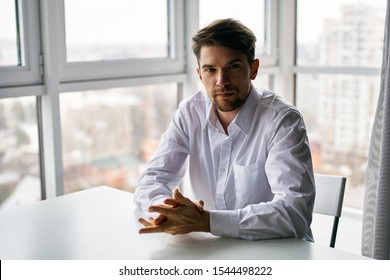 Business finance man shirt office window