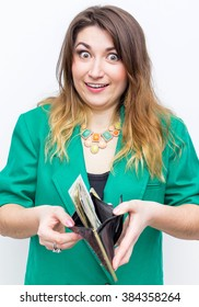 business finance saving banking and people concept .close-up of woman  with wallet-and money
