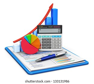Business finance, tax, accounting, statistics and analytic research concept: office calculator, bar graph and pie diagram and pen on financial reports in clipboard isolated on white background