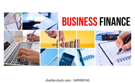 BUSINESS & FINANCE text with collage images