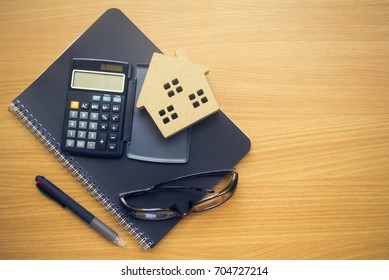 business finance tools object on wood table