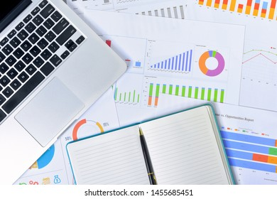 Business and Finances Concepts. Laptop, Notebook with graph and pen