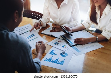 Business financial, Business accountant and discussing with partner are meeting to audit finance planning sales to meet targets set in next year. budget plan concept.