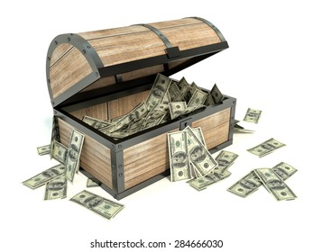 Business and Financial Concept. Chest and bunch of dollars