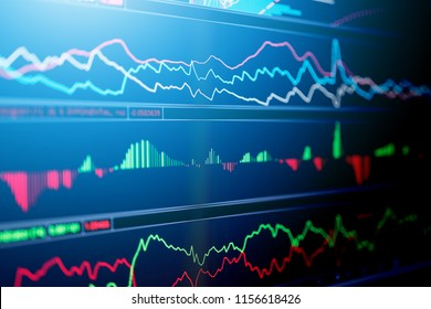 business financial concept with stock market graph chart indicator screen monitor