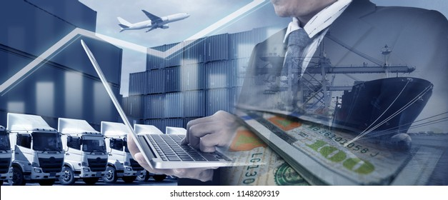 Business & Financial growth logistics & shipping concept with Haulage truck fleet, Containers, Air cargo freight, and ship cargo operation at port.
