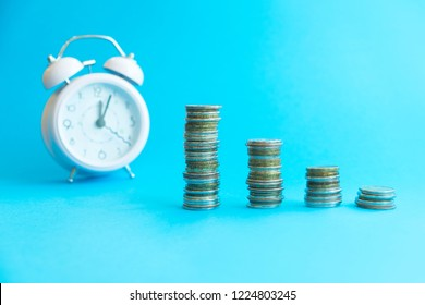 business financial ideas concept with coins and alarmclock isolate background with free copyspace for your creativity ideas text
