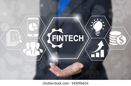 Business fintech gear web computer financial concept. Finance technology banking smart phone money trade exchange internet computing