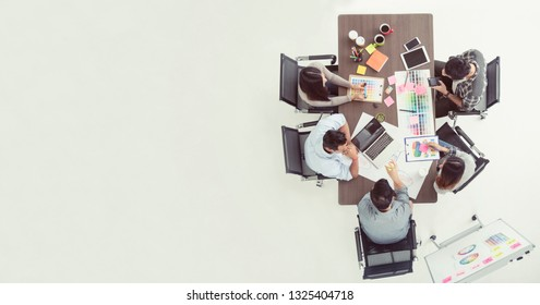 Business firm team trust in partnership working together. Top view of creative design business people working in contractor industry. Diversity multi ethnic team meeting together.