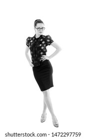 Business first. Successful business lady. Business woman in elegant formal style. Pretty woman wearing glasses with smart business look.