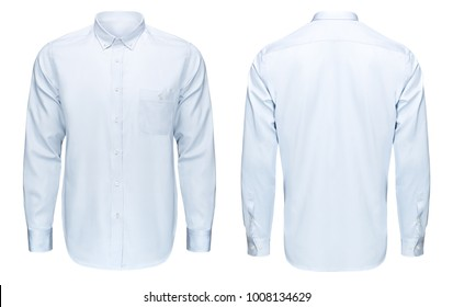 Business or formal blue shirt, front and back view, isolated on white background with clipping path
