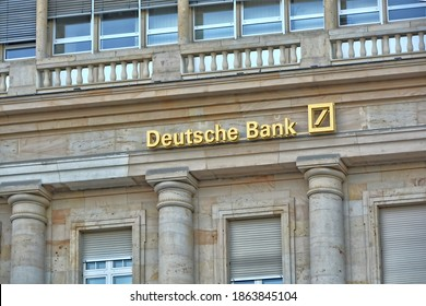 Business in Germany. Exterior of Deutsche bank. Signs. Banking industry. Germany, Frankfurt - July 27, 2018