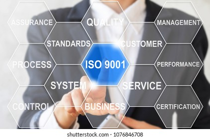 Business girl clicks on a iso 9001 text button surrounded by specific icons. Quality Management System Control. Business Network Set Requirements Quality Reliability Service Standards. ISO9001.
