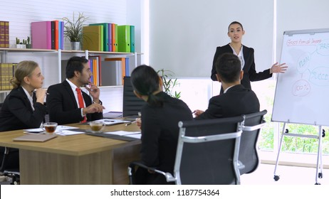 Business girl explaining about her project in meeting room.