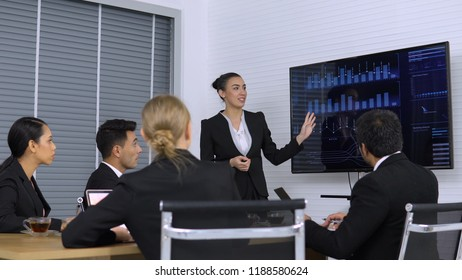 Business girl explaining graph on Monitor screen to the Colleagues in meeting room.