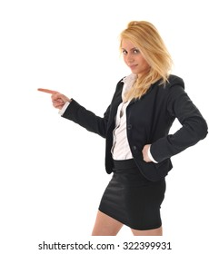 Business girl pointing on her side