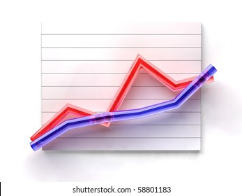 business glass lines graph on white background