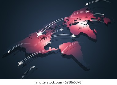 business global aviation travel connections concept background