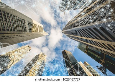 Business global network connection on smart city building background