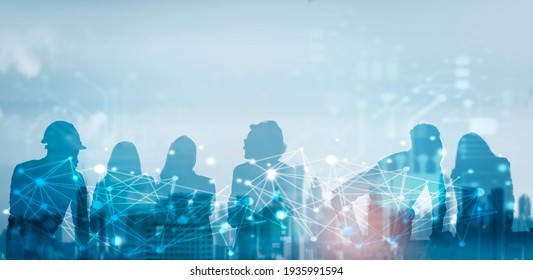 Business global network connection telecommunication technology concept, Futuristic silhouette business people group working on communication technology with internet link graphic background