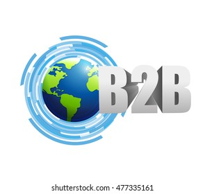 Business to Business globe technology illustration design graphic