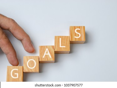 business goals and business concept - on white background