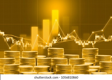 business golden coin digital currency on stock market financial positive indicator background. Double exposure growth futuristic chart bitcoin money investment . investor cryptocurrency data concept