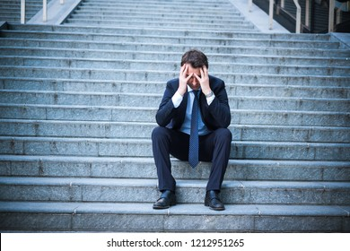 Business gone wrong and desperate man alone