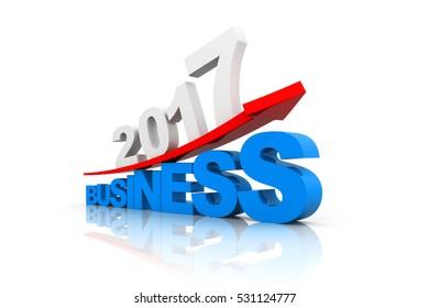 Business graph of 2017. 3d render