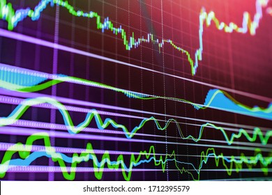 Business graph with arrow showing profits and gains. Stock market graph. Digital stock market listing on a tablet screen. Stock market data on LED display. Modern business lifestyle