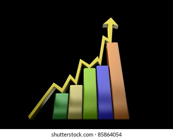 Business Graph with arrow showing profits and gains