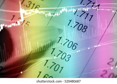 Business graph background: Analysis business accounting on info sheets. Businessman hand working on analyzing investment charts for Gold market, Forex market and Trading market.