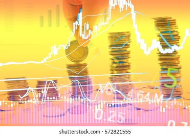 Business graph background: Analysis business accounting on info sheets. Businessman hand working on analyzing investment charts for Gold market, Forex market and Crude oil trading market.