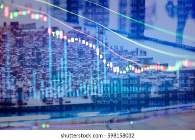 Business graph background: Analysis business accounting on info sheets. Businessman hand working on analyzing investment charts for Gold market, Forex market, Crude oil and Commodity trading market.