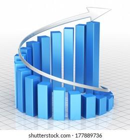 Business Graph blue Bar spiral moving up (close-up)