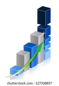 Business graph with blue tones illustration design over a white background