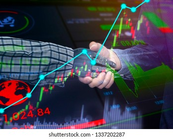 Business graph charts of financial instruments with various type of indicators combine with gold and account book and money  ,with clipping path in hand