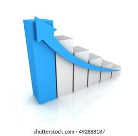 business graph concept   3d illustration