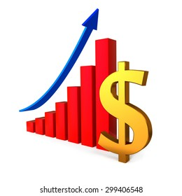 Business graph with gold Dollar sign on the white