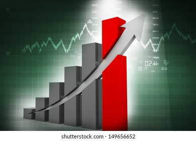 Business graph on abstract background