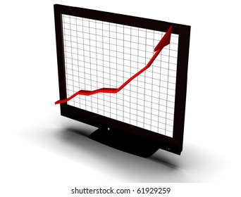 business graph on screen