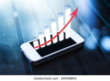 business graph on smart phone screen