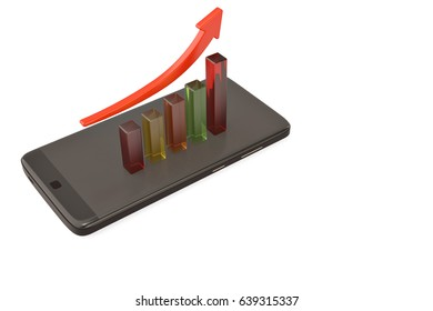 A business graph with rising arrow and smartphone.3D illustration.