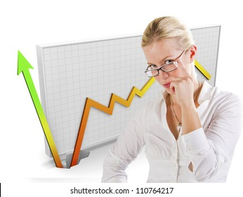 Business graph showing growth behind a woman