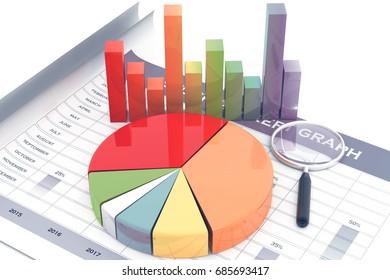 Business graph.3d illustration