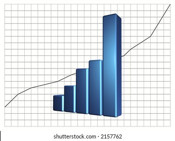 Business Graphic Showing Increase in Profits/Sales/Gains