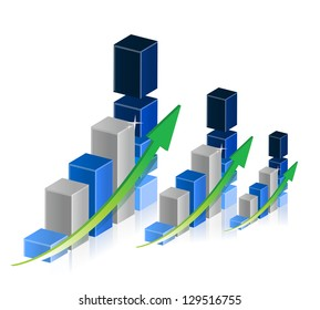 Business graphs and charts illustration design over a white background