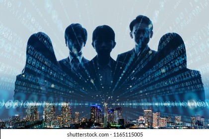 Business group and digital technology concept.