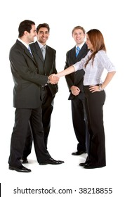Business group handshake isolated over a white background